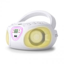 Auna Radio Boombox CD USB MP3 AM FM Bluetooth 2.1 cu LED Culoare alb