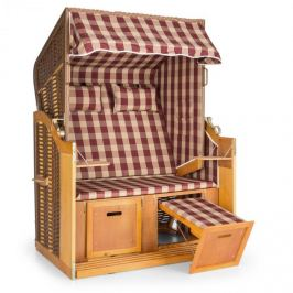 Blumfeldt Hiddensee scaun plaja XL 2 locuri 118 cm , pin si răchită rosu / cu carouri albe