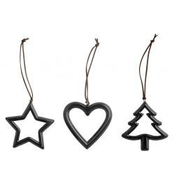 Set 3 decorațiuni Crăciun KJ Collection Metal Black