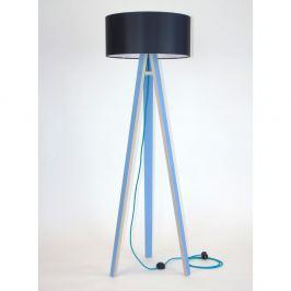 Lampadar albastru cu abajur negru și cablu turcoaz Ragaba Wanda