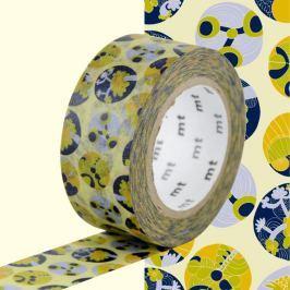 Bandă washi MT Masking Tape Succulent, galben - albastru