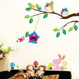 Set autocolante Fanastick Owls And Bird Cage On Tree