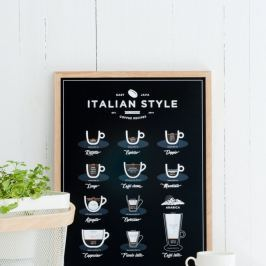 Poster Follygraph Italian Style Coffee Black, 21x30cm