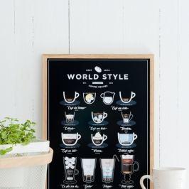 Poster Follygraph World Style Coffee Black, 21x30cm