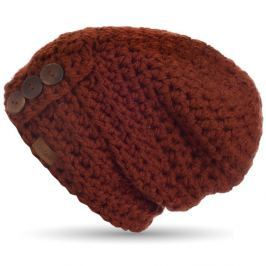 Căciulă tricotată manual cu nasturi DOKE Marsala