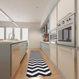 Covor pentru bucătărie foarte rezistent Webtapetti Optical Black White, 130x190cm