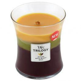 Lumânare parfumată WoodWick Trilogy, aromă de prăjituri, coacăze, afine, violete și iasomie, 60 ore