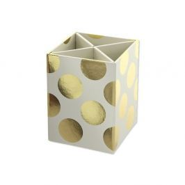Suport pentru ustensile de scris Go Stationery Gold Polka Cream
