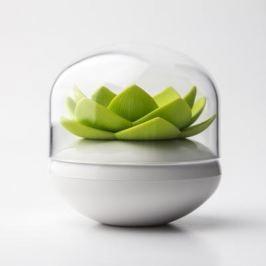 Suport pentru bețișoare de urechi Qualy Lotus, alb - verde