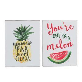 Set 2 plăcuțe decorative J-Line Melon & Pine, 27 x 35 cm