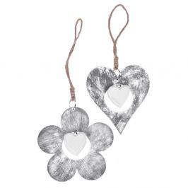 Set 2 decoraţiuni inimă şi floare Ego Dekor, ⌀ 11 cm