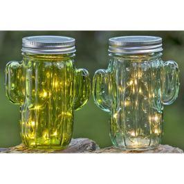 Set 2 pahare din sticlă, capac metalic Boltze Cactus