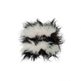 Pernă din blană cu fir lung pentru scaun Boby, 37 x 37 cm, alb-negru