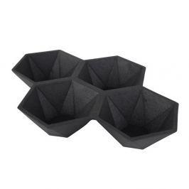 Tavă cu 4 compartimente Zuiver Hexagon, negru