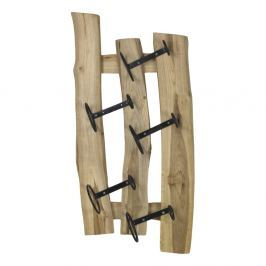 Suport din lemn de tec pentru sticle de vin HSM collection, potrivit pentru 5 sticle