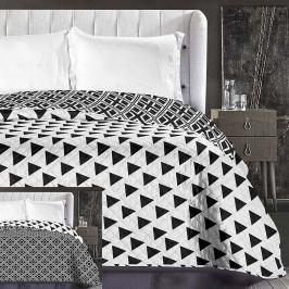 Cuvertură reversibilă din microfibră DecoKing Hypnosis Triangles, 220 x 240 cm, negru - alb