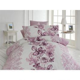 Lenjerie de pat cu cearșaf din bumbac Lamer, 200 x 220 cm, violet - alb
