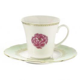 Set 6 cești din porțelan cu farfurie Kutahya Roses, 80 ml