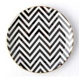 Farfurie din porțelan Vivas Zigzag, Ø23cm, negru - alb