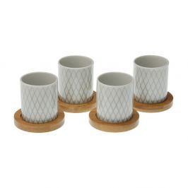 Set 4 pahare cu tavă din bambus VERSA Diamond