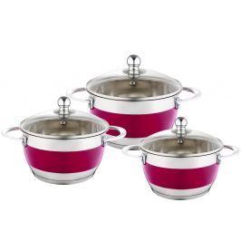 Set 3 cratițe cu capac Krauff Cook, roz
