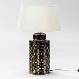 Veioză din ceramică fără abajur Thai Natura Silvia, negru - auriu
