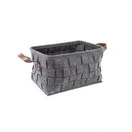 Coș pentru depozitare, cu mânere din piele, PT LIVING Storage, lungime 38 cm, gri