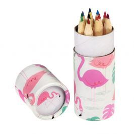 Set de 12 de creioane în tub decorativ Rex London Flamingo Bay