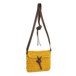Sacoșă pentru umăr, croșetată manual cu mânere din piele DOKE Gold