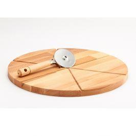 Tocător din lemn și cuțit pentru pizza Bisetti Pizza, 35 cm
