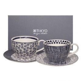 Set 2 cești cu farfurioară Tokyo Design Studio Cappiccino Bubble/Net