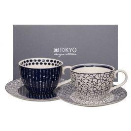 Set 2 cești cu farfurioară Tokyo Design Studio Cappiccino Leaf/Pebble