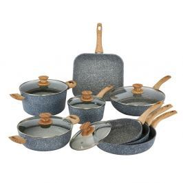 Set 13 piese, vase cu mânere din lemn și capace Bisetti Pierre Gourmet