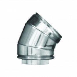 COT LA 45 DIN INOX PENTRU COS DE FUM DUBLU PERETE D.INT150/D.EXT200