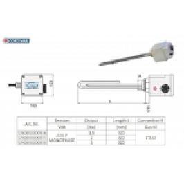 KIT REZISTENTA ELECTRICA CU TERMOSTAT PT. BOILER, 3000W, 220V, 1 1/2M, L=320mm
