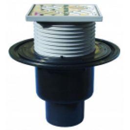 RECEPTOR TERASA, IESIRE VERTICALA D50/75/110, ANTIINGHET, GRATAR INOX 115x115 mm, 0,9 l/s