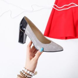 Pantofi Piele Ordali gri cu toc gros
