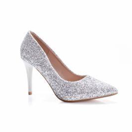 Pantofi Mouline cu gliter argintiu
