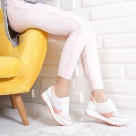 Pantofi dama sport Samiga albi cu roz