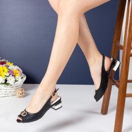Sandale Habit negre cu toc