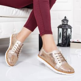 Pantofi Piele Ivanka champagne casual