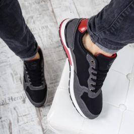 Pantofi sport barbati Lugen negri cu rosu