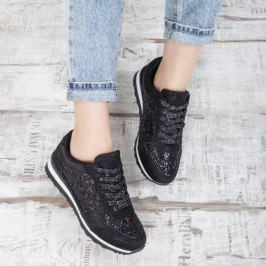 Pantofi dama sport Verille negri cu gliter