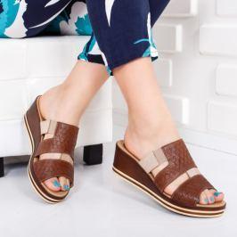 Papuci Piele Advina maro cu platforma