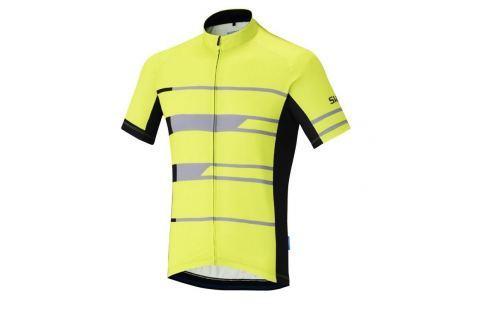 Shimano Team Short Sleeve Jersey Neon Yellow M Îmbrăcăminte pentru biciclete
