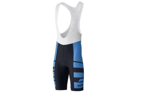 Shimano Team BIB Shorts Blue L Îmbrăcăminte pentru biciclete