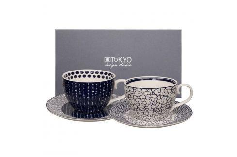 Set 2 cești cu farfurioară Tokyo Design Studio Cappiccino Leaf/Pebble Căni