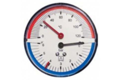"TERMOMANOMETRU 0-4 bar, 20-120 grd., D63,G1/4"" CU VENTIL 1/2"" Manometre si termometre"